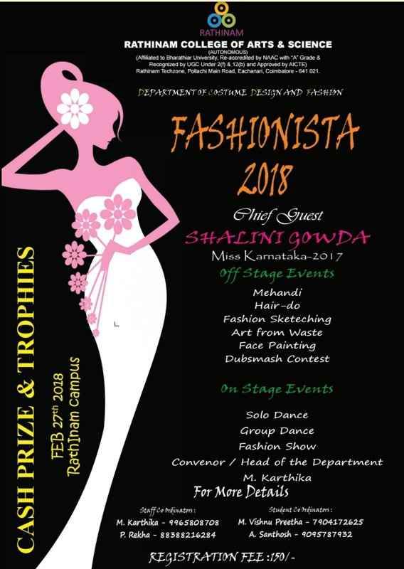 Fashionista 2018 Costume Design Fashion Rathinam College Of Arts And Science News Club Media Arts